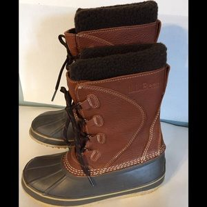 LL Bean Women's Snow Boots Tumbled Leather Size 8